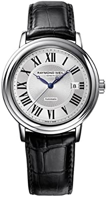 Raymond Weil Maestro Silver Dial Black Leather Automatic Mens Watch 2847-STC-00659 from Raymond Weil