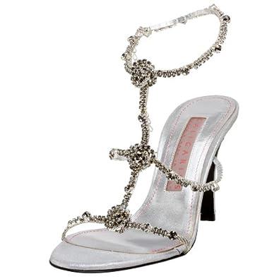 Caligarius Women's Garbo Jeweled Evening Sandal,Silver,5.5 B