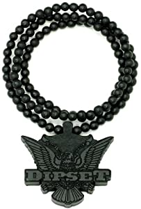 Diplomats Dipset Cam'ron & Jim Jones Black Good Wood Goodwood 36 Inch All Natural Wood Replica Pendant Necklace Piece