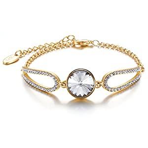 Menton Ezil Guardian Angel Swarovski Element Crystal Yellow Gold Plated Teardrop Rhinestones Designer Inspired Chain Bracelet