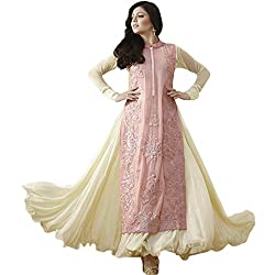 Latest Wize Stylish And Elegant Georgette Embroidered Dress Material with Lehanga Style