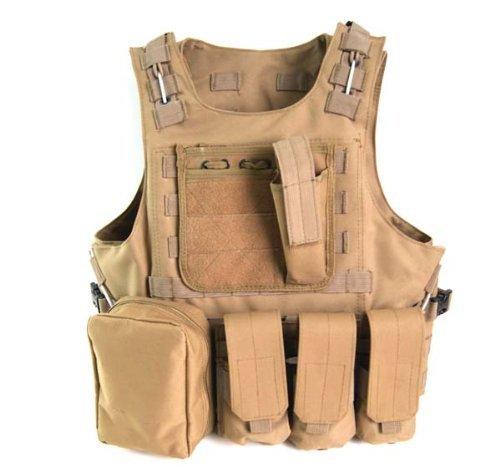 Coobl Tactical Molle Airsoft Vest Paintball Combat Soft Vest, Tan