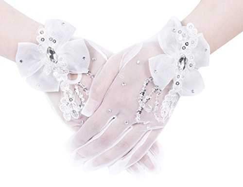 Dresstells® Exquisite Fingerless Rhinestone Pearls Bridal Gloves Prom Gloves White-8