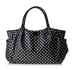 Kate Spade York Spot Nylon Stevie Baby Bag (Black/Cream)