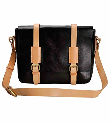 ZLYC Men Handmade Vegetable Tanned Leather 13.3 Inch Two Tone Laptop Messenger Shoulder Bag, Black