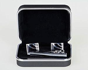 Lodestar Galaxy boutons de manchette classiques et pince à cravate élégante, ensemble en boîte-cadeau: Rectangular Waterfall DE (ACK-11)