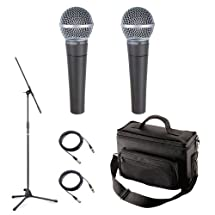 Shure SM58-LC Microphone Pack with Two SM58-LC Microphones, Padded Mic Bag, Mic Stand, and 2 Mic Cables