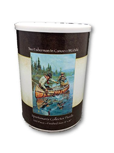 Two Fisherman in a Canoe Sportsman's Collector Jigsaw Puzzle 200 Piece Puzzle in a Can