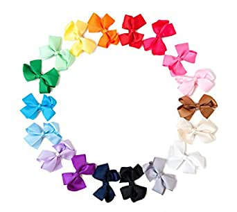 Ema Jane - Grosgrain Baby Hair Bow Clips (Headbands Not Included) (18 Pack)