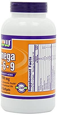 NOW Foods Omega 3-6-9 1000mg, 250 Softgels , Pack of 3