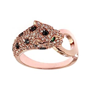 EFFY 5/8 ct. tw. Black & White Diamond Panther Ring in 14K Rose Gold (Size 6.5)