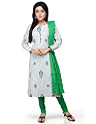 Vastra Vinod White Cotton Readymade Kurti With Legging