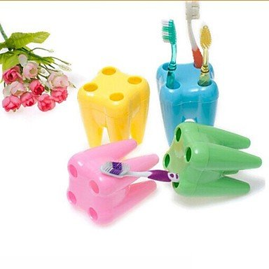 Tint Tooth Shape Toothbrush Holders(Random Color)