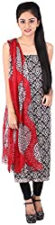 Bee Gee Boutique Women's Synthetic Unstitched Dress Materials (BG-14, Black, White)