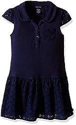 Nautica Toddler Eyelet and Pique Drop Waist Dress, Navy, 3T