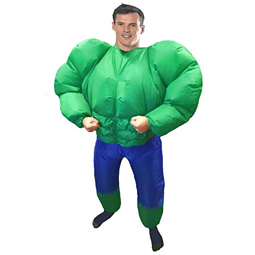 Inflatable Hulk Adult Fancy Dress Costume Green Man Suit Hen Stag Outfit
