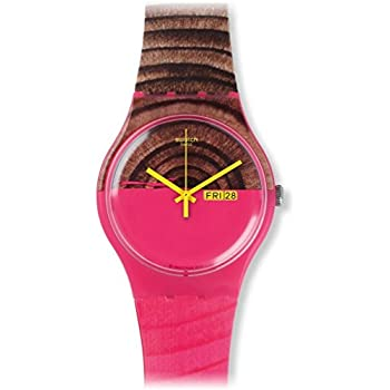 Swatch Women's SUOP703 Pink/Brown Silicone Watch