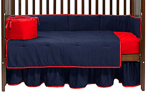 Baby Doll Solid Reversible Crib Bedding Set, Navy/Red
