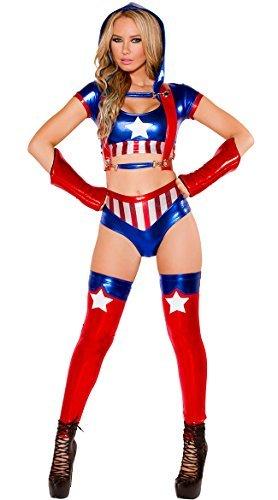 Donna 7 Pezzi Metallizzato Captain America Cheerleader Costume Da Eroe Taglia 10
