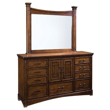 Standard Furniture Artisan Loft 9 Drawer Dresser w/ Mirror in Warm Medium Oak