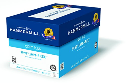 Hammermill Copy Plus Multipurpose Inkjet & Laser Paper, 8 1/2″ x 11″ Letter, 92 Bright White, 20 lb., 5000 Sheets/Case Carton (105007)