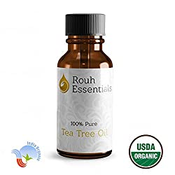 Rouh Essentials 15ml Pure Organic Tea Tree Oil for Acne prone Skin, Hair conditioning, skin tags