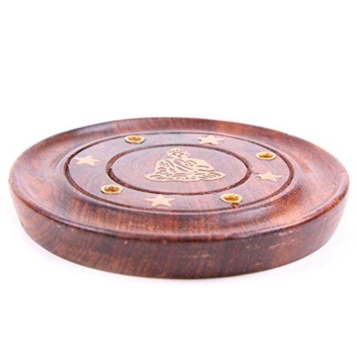 Colector de cenizas redondo madera Sheesham - Buda incrustado
