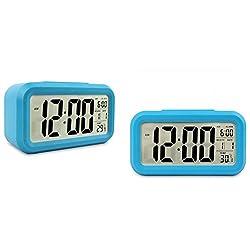 Soondar® Digital LCD Large Screen Desk Bedside Alarm Clock with Snooze Light Function Batteries Powered for Children Women Elderly People - BLUE