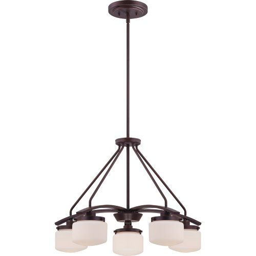 Nuvo Lighting 60/5125 Austin Five Light Chandelier 60 Watt G16.5 Candelabra Base Max. Etched Opal Glass Russet Bronze Fixture