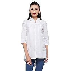 Delfe White Solid Tunic For Women