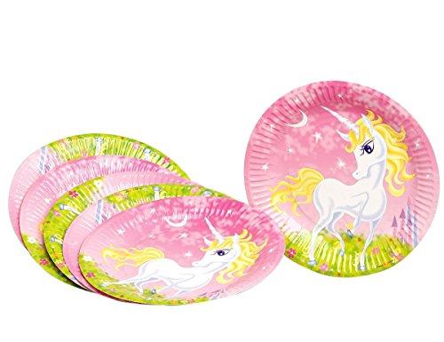 6-Assiettes-en-carton-Licorne-girly-23-cm