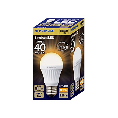 ルミナス LED電球 直下重視タイプ 40W相当 電球色 511lm 口金E26 密閉器具対応 LDAS40L-H