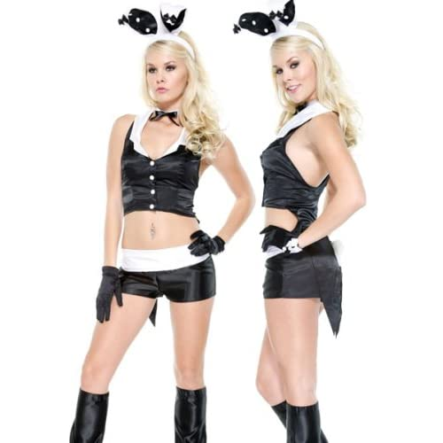 Adult Costume : Hot Blondes Teens in Bunny Frou-Frou Costume