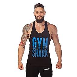 Summer Sweat Gymshark Fitness Muscles Vest Cotton Loose Sports Gym Vest (M, Black&Blue)
