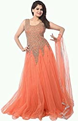 Vadaliya Enterprise Women's Embroidered Net Orange Gown