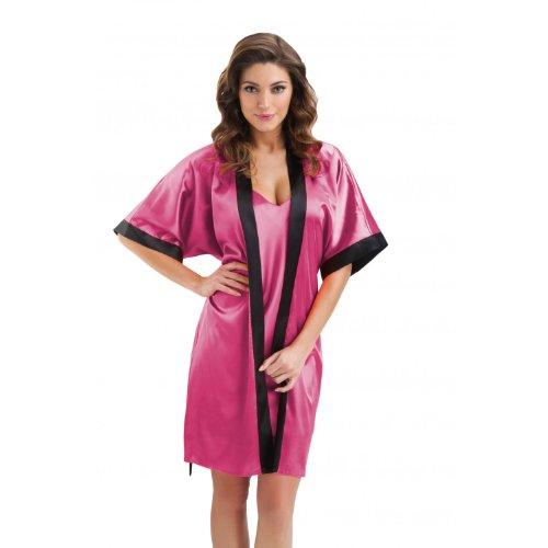 Damen Morgenmantel Satin Kimono Bademantel Schwarz, Weiß, Gold, Pink, Rot, Dunkelblau, Koralle / Made in EU, Farbe: Himbeere, Größe: M