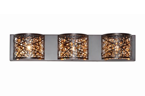 "Et2 E21316-10Bz Inca 4.25"" Wide 3-Bulb Bathroom Light Fixture, Bronze"