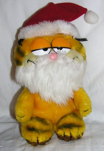 "Vintage 8"" Christmas Plush Garfield the Cat with Santa Claus Hat and Beard - 1"