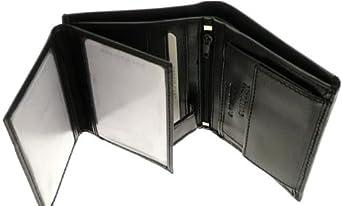 Neptune Giftware Hommes molle Napa noir portefeuille en cuir & titulaire de la carte de crédit avec pièce de rangement