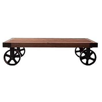 Mesa de centro con ruedas en metal y madera