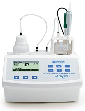 Hanna Instruments HI84434-02 Titratable Acidity Mini Titrator and pH Meter, 230V, +/-0.01 pH Accuracy, 0.1 pH/0.01 pH Resolution, For Vinegar