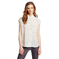 Rebecca Taylor Women's Short Sleeve Lace Print Top
