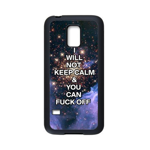 "COOL phone case,For black Plastic and TPU Samsung Galaxy S5 mini case with Keep Calm Series ""I Will not Keep Calm and You Can Fuck Off"" Pattern at Run horse store"