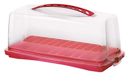 Rotho 1722502039 Contenitore porta torta porta dolci rettangolare Fresh in materiale plastico (PP), con robusta chiusura e comodo manico, circa 36 x 16,5 x 16,5 cm, rosso/trasparente
