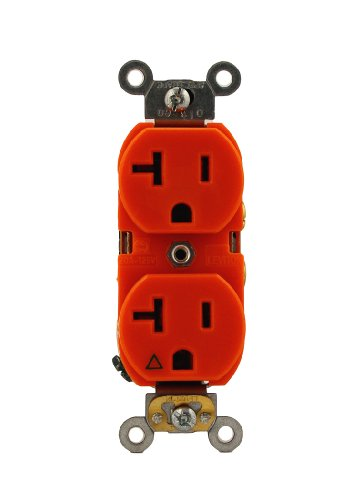 Leviton 5362-Ig 20-Amp, 125 Volt, Industrial Series Heavy Duty Specification Grade, Duplex Receptacle, Straight Blade, Isolated Ground, Orange