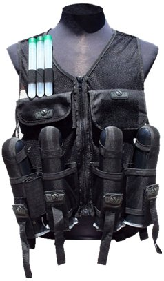 TRINITY Tactical Mesh Vest with 4 Harness and Tank Pouch, Black