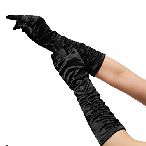 Women Ladies Elegant Sexy Ruched Long Satin Gloves Full-fingered Evening Prom Wedding Gloves Black