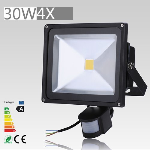 4 Pcs 30W Led Induction Pir Infrared Motion Body Sensor Flood White Lights Lamp 240V Ac Warm White