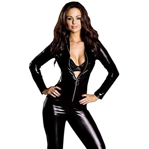Adulti in pelle in PVC nero sexy come Body Tuta stretti,Fami (XL)