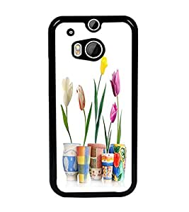 PrintDhaba Flowers D-2108 Back Case Cover for HTC ONE M8 (Multi-Coloured)